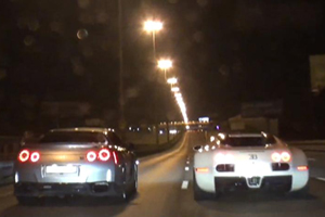 Bugatti Veyron vs Nissan GT-R Drag Race Video