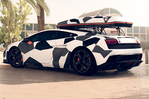 DMC makes Jon Olsson a Camouflage Lamborghini Gallardo for Skiing