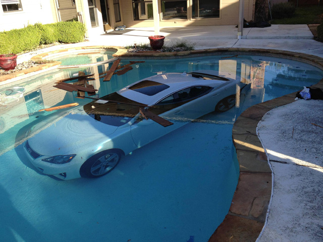 Hey! There's a Lexus IS in your Pool!
