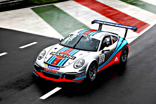 Martini and Porsche Renew their Partnership of Light Blue, Dark Blue, and Red