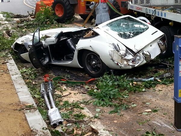 Toyota 2000GT Crushed by Tree