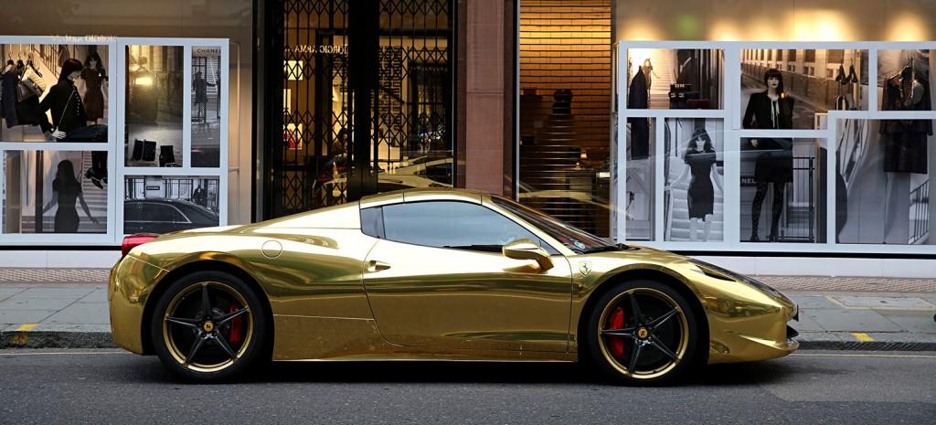 Chrome-Gold-Ferrari-458-Spider
