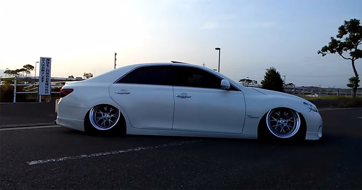 Cringe As These Stanced Vip Cars Leave A Parking Lot