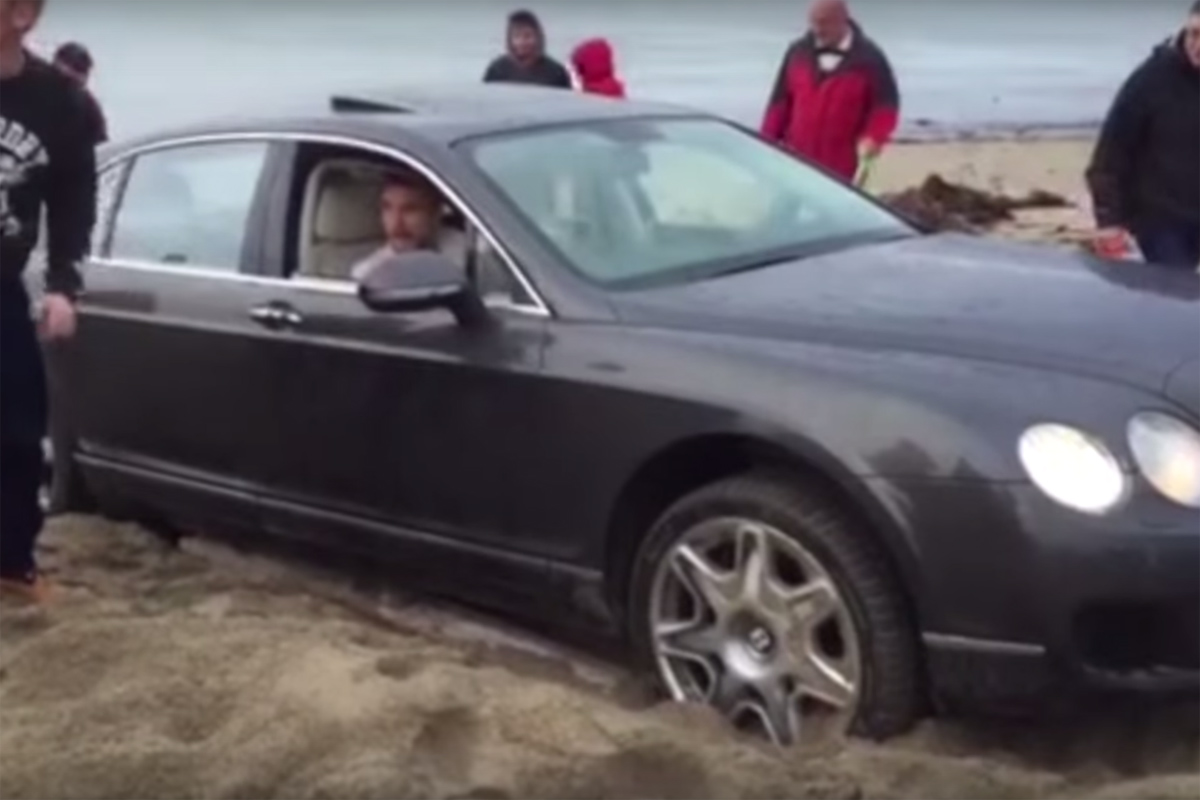 Friday FAIL Bentley Stuck in Sand