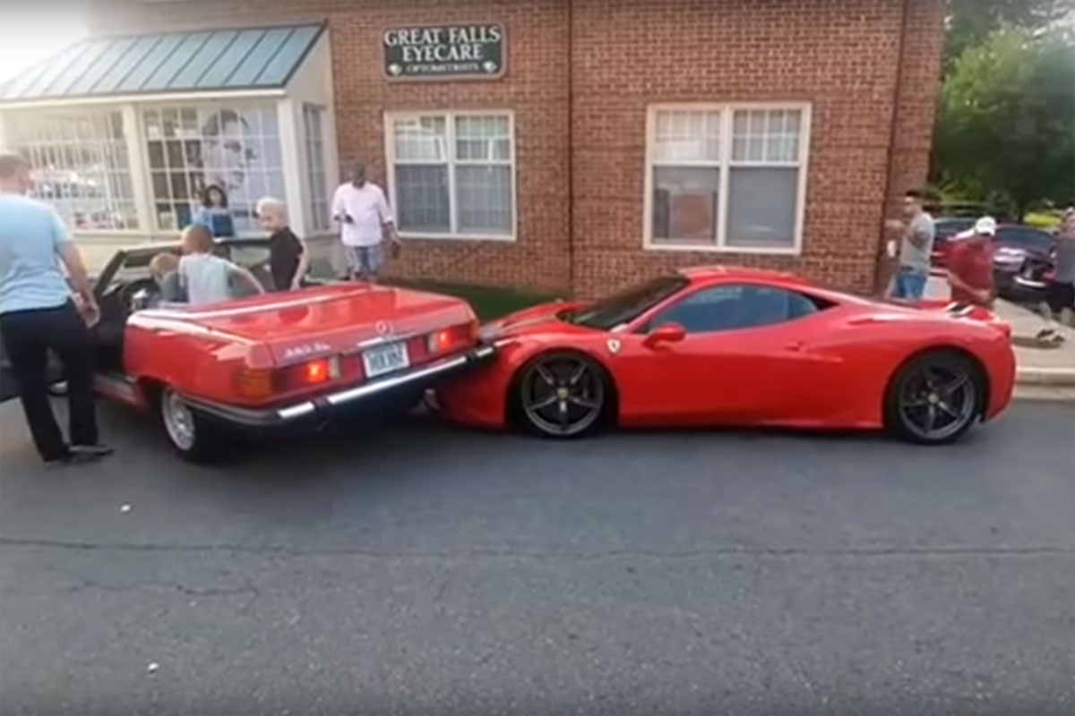 Ferrari 458 Speciale backed into at Cars & Coffee