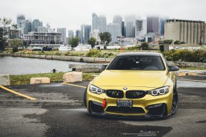 Austin Yellow BMW M4 with Brixton Forged R10D Targa Series Wheels