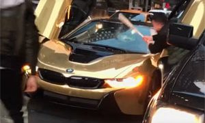 BMW i8 Hit with Bat