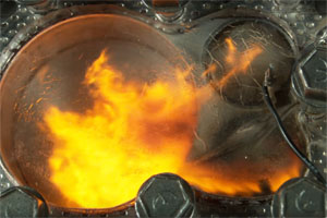 Inside a combustion chamber