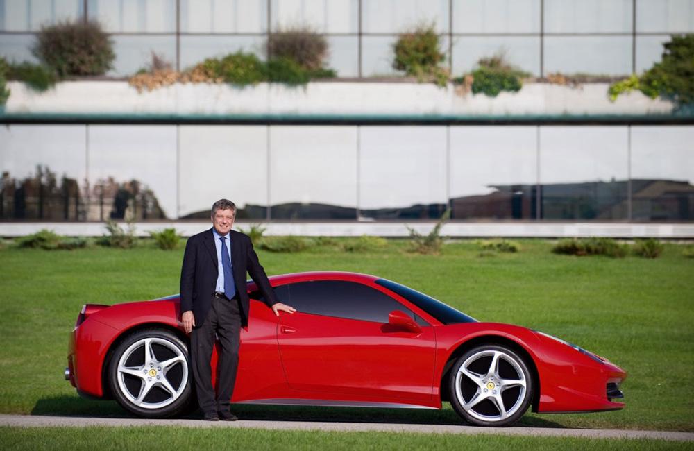 Sergio Pininfarina with Ferrari 458 Italia