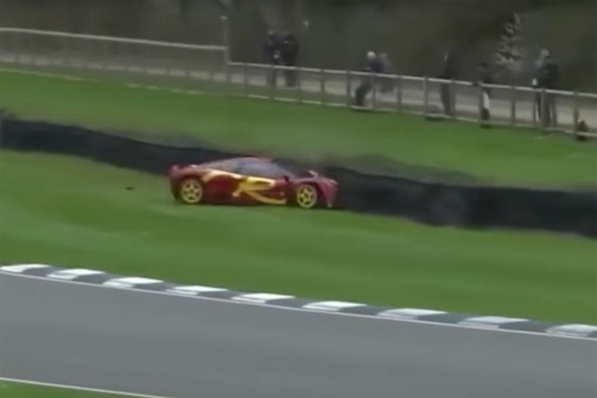 Nick Mason McLaren F1 GTR Crash Goodwood
