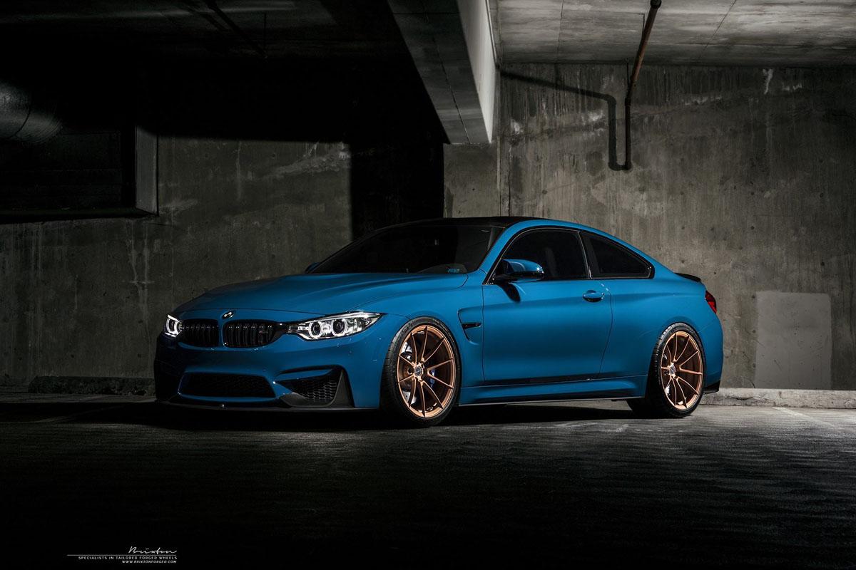 Laguna Seca Blue BMW M4 Brixton Forged WR3 Ultrasport+ Wheels
