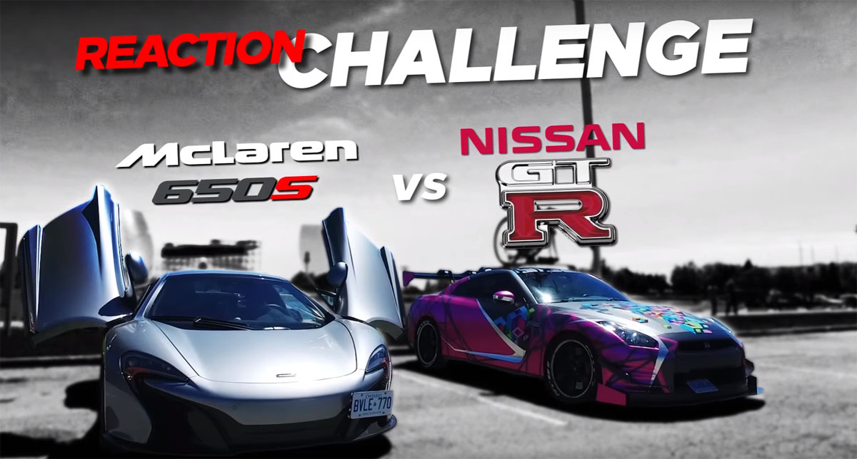 McLaren 650S Spider vs Nissan GT-R Reaction Video