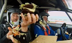 Building a burger in a rally car