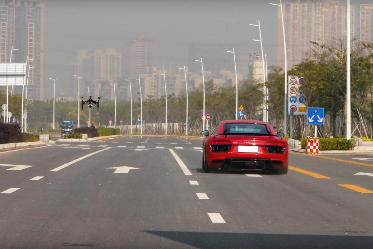Audi R8 vs DJI Inspire 2 Turbo Drone