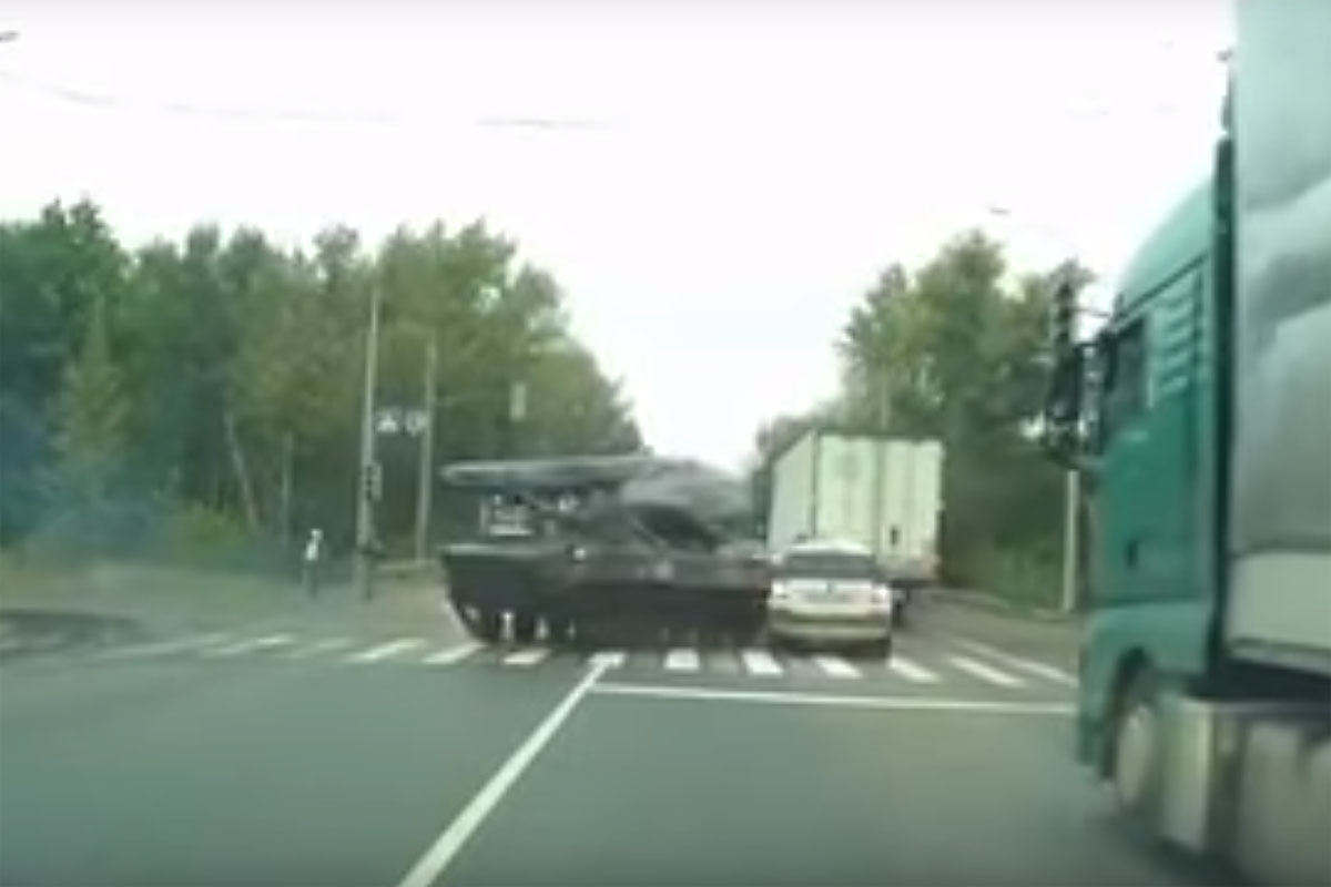 Friday FAIL: Russia Tank Crashes into Car