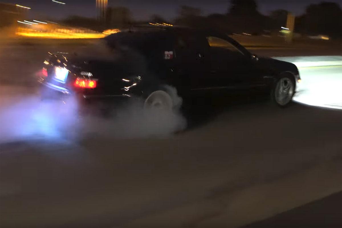 Mercedes-Benz E55 AMG Burnout Fail Crash